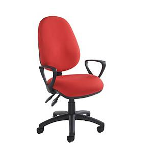 Vantage Operator Chair Red with Fixed Arms - Del & Ins