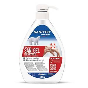 Sanitec alkoholos kézfertőtlenítő gél, pumpás adagolóval, 600 ml