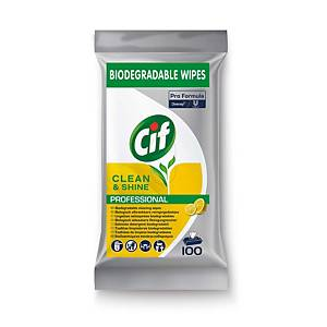 Embalagem de 100 toalhitas desinfetantes multiúsos CIF PRO - sem enxaguar