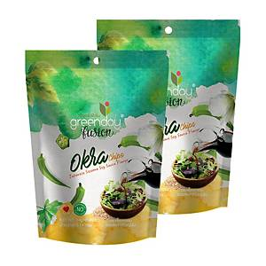 GREENDAY Okra Chips Japanese Soy Sauce Flavour 14g - Pack of 2