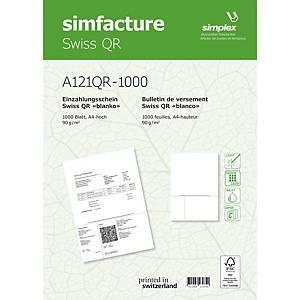 Formulaire de paiement Simplex Swiss QR, A4, paquet de 1000 feuilles