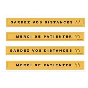 Bande adhésive sol - Gardez vos distances + Merci de patienter - jaune - par 4