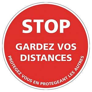 Panneau adhésif sol - Stop gardez vos distances - Ø 250 mm