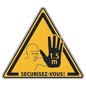 Panneau adhésif sol - Distanciation sociale 1,5 m sécurisez-vous - jaune