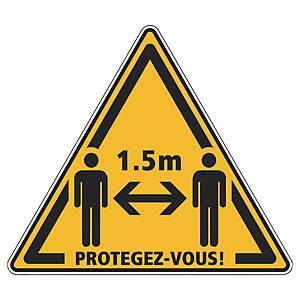 Panneau adhésif sol - Distanciation sociale 1,5 m protégez-vous - jaune