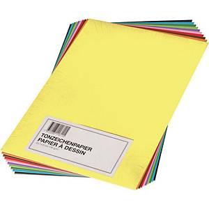 Tonzeichenpapier A3 130 g/m2, farbig assortiert, Pack à 100 Blatt