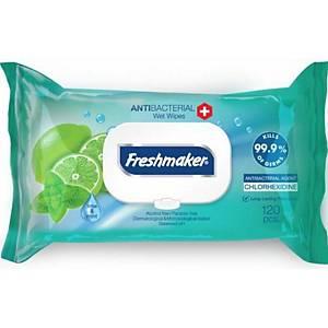 Vlhčené obrúsky Freshmaker s antibakteriálnym účinkom, limetka, 120 ks