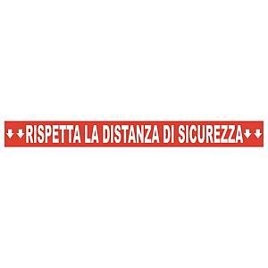 """Striscia adesiva calpestabile """"RISPETTA LA DISTANZA DI SICUREZZA"""" - conf. 2"""