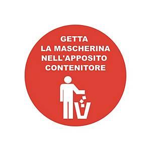 """Bollo adesivo calpestabile  GETTA LA MASCHERINA NEL CONTENITORE"""" – conf. 2"""