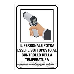 Cartello  CONTROLLO TEMPERATURA PER IL PERSONALE  200x300 mm