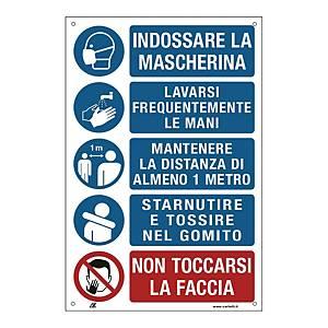 Etichetta rimovibile prescrizioni lavoratori per prevenire contagio 200x300mm