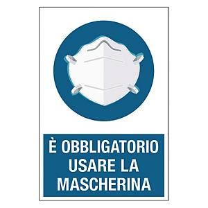 Cartello  E  OBBLIGATORIO USARE LA MASCHERINA  200 x 300 mm