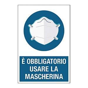 Etichetta  E  OBBLIGATORIO USARE LA MASCHERINA  200 x 300 mm