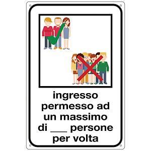 Etichetta attacca e stacca  INGRESSO PERMESSO A UN MAX PERSONE  300x200 mm