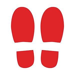 Symbole de marquage au sol - format Pas - 150 x 300 mm - rouge - par 4