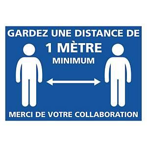 Panneau autocollant - Gardez une distance de 1 mètre minimum - 300 X 210 mm