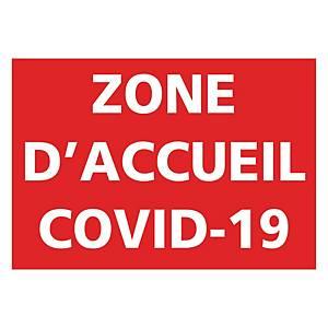 Panneau autocollant - Zone d accueil Covid-19 - 300 x 210 mm