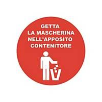 """Bollo adesivo per vetrine  GETTA LA MASCHERINA NEL CONTENITORE"""" – conf. 2"""
