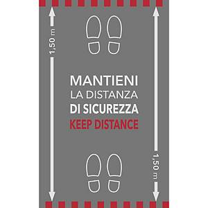 Tappeto segnaletico   MANTIENI LA DISTANZA DI SICUREZZA   Matten - 100 x 60 cm