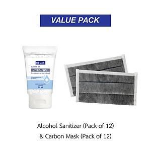 REVAS Alcohol Gel Sanitizer 50ml Pack12 and GLOVETEX Carbon Mask CF-114 Pack12