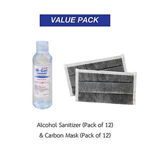 M-GEL Ethyl Alcohol Gel 95% 100ml Pack12  and GLOVETEX Carbon Mask CF-114 Pack12