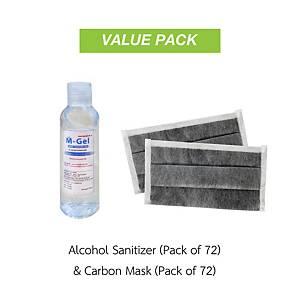 M-GEL Ethyl Alcohol Gel 95% 100ml Pack72 and GLOVETEX Carbon Mask CF-114 Pack72