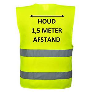 Veiligheidsvest fluo geel, houd 1,5 m afstand, maat L/XL, Nederlandstalig