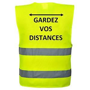 Veiligheidsvest fluo geel, gardez vos distances, maat S/M, Franstalig
