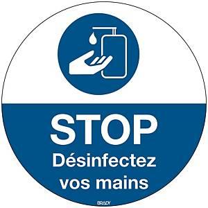 Pictogramme désinfection des mains obligatoire, polyester, 350 mm, français