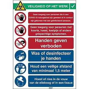 Pictogramme avec instructions de sécurité Covid-19, 371 x 262 mm, néerlandais