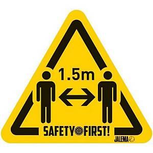 Jalema waarschuwingssticker houd 1,5 m afstand, geel en zwart, per 4 stuks