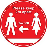 Red Social Distancing Floor Graphic - Please Keep 2m/6ft Apart