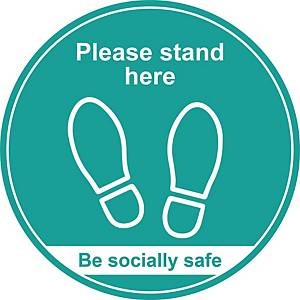 Turquoise Social Distancing Floor Graphic - Please Stand Here