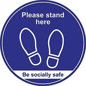 Blue Social Distancing Floor Graphic - Please Stand Here