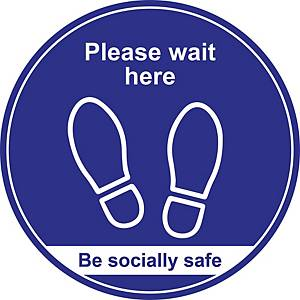 Blue Social Distancing Floor Graphic - Please Wait Here