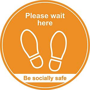Amber Social Distancing Floor Graphic - Please Wait Here