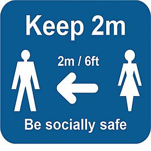 Blue Social Distancing Self Adhesive Sign - Keep 2m/6ft - Pack of 25