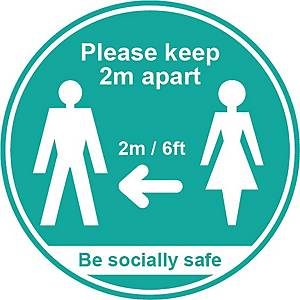 Turquoise Social Distancing Sign - Please Keep 2m Apart Pack of 25