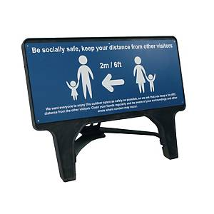 Blue Social Distancing Q Sign - Be Socially Safe