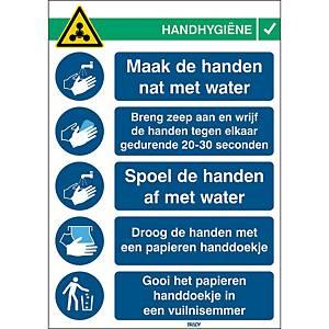 Pictogramme hygiène des mains Brady, 371 x 262 mm, Néerlandais