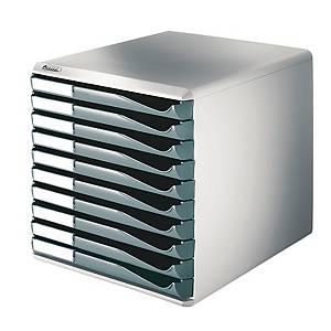 Schubladenbox Leitz 5281, 10 Schubladen, lichtgrau/dunkelgrau