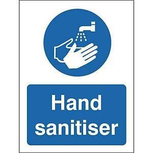 Hand Sanitiser Safety Sign Semi Rigid Plastic 150x200MM