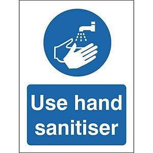Use Hand Sanitiser Safety Sign Semi Rigid Plastic 150x200MM
