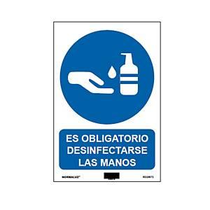Señal  obligado desinfección manos  - PVC - 210X300MM