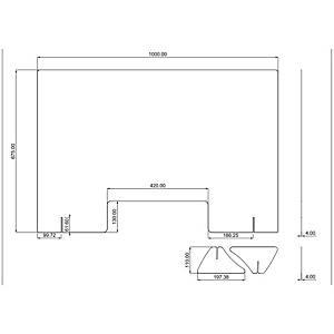 Parete in policarbonato trasparente 100xh67.5cm con asola 42x13 cm spessore 4 mm