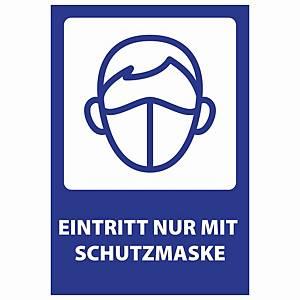 COVID-19 Informations-Warnzeichen  SCHUTZMASKE TRAGEN , Größe 205x300 mm, 10 St