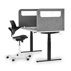 BE veiligheidsscherm U met acrylaat venster, B 160 x H 60 x D 80 cm, lichtgrijs