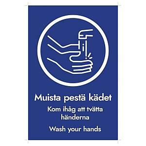 Tarra Muista pestä kädet 20x30cm, 1 kpl = 5 tarraa