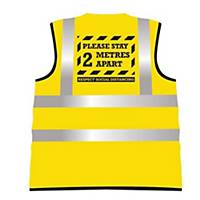 2 Metre Distance High-Vis Vest Yllw L