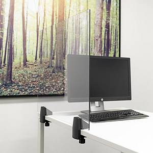 Écran de sécurité avec pince pour bureau simple, plexiglas, l 75 x H 58 cm